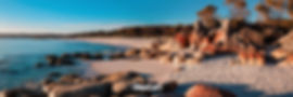 Bay Of Fires Tasmania orange rocks beach peaceful panorama landscape photography by Nathan Dukes Art