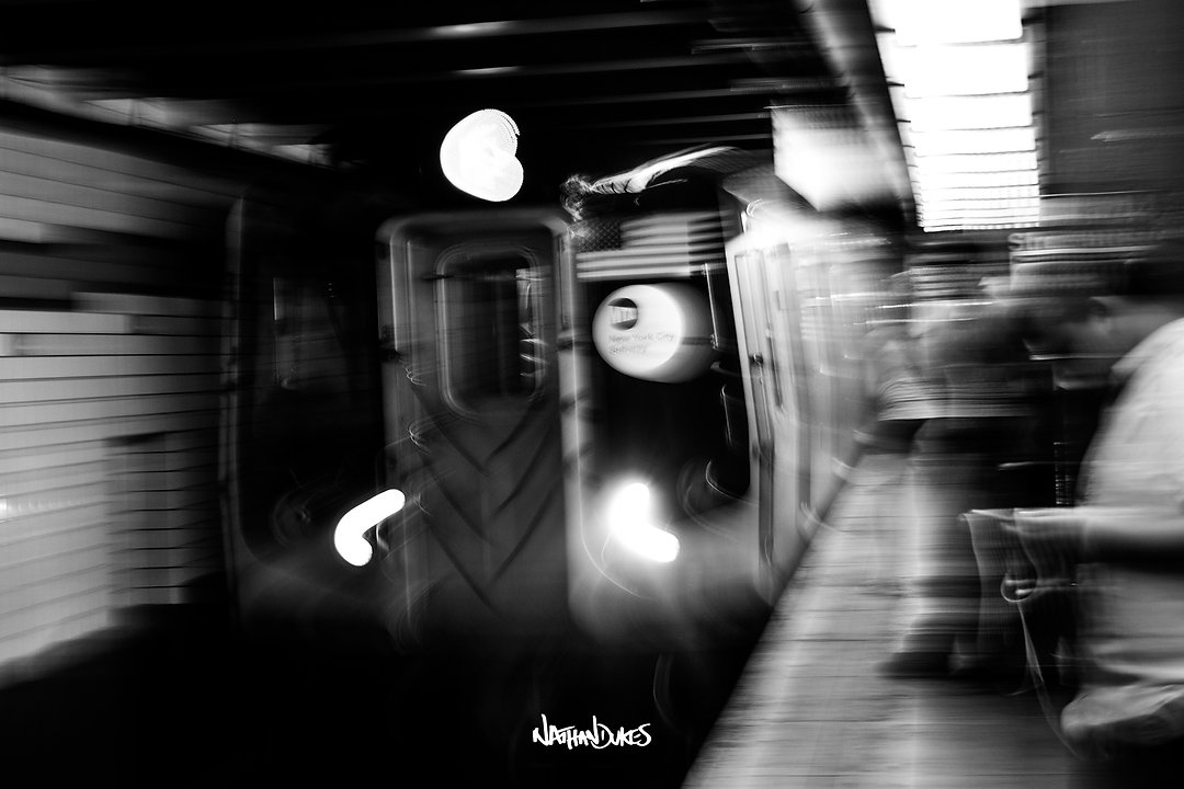 New York Subway train NYC street photography black and white by Nathan Dukes Art