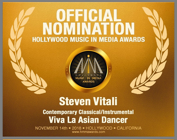 Steve Vitali Nomination Hollywood Music In Media Awards 2018