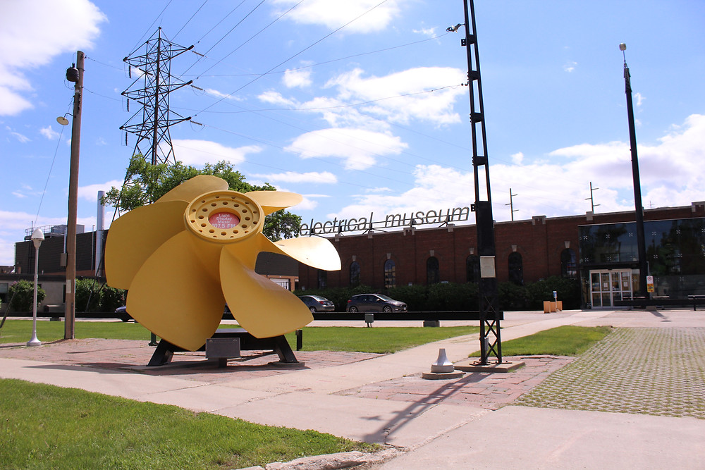 An outside photograph of the Manitoba Electrical Museum & Education Centre on a sunny day.