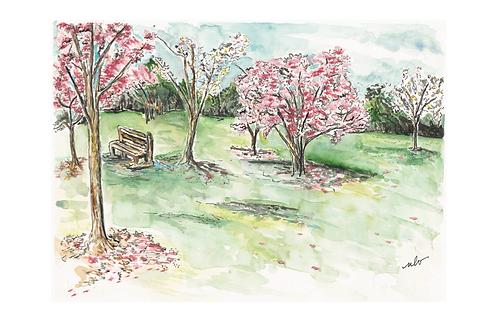 pink trees print