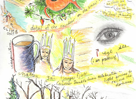 "Blog 34: Candles on their heads, singing before dawn. ""Eye"" see."