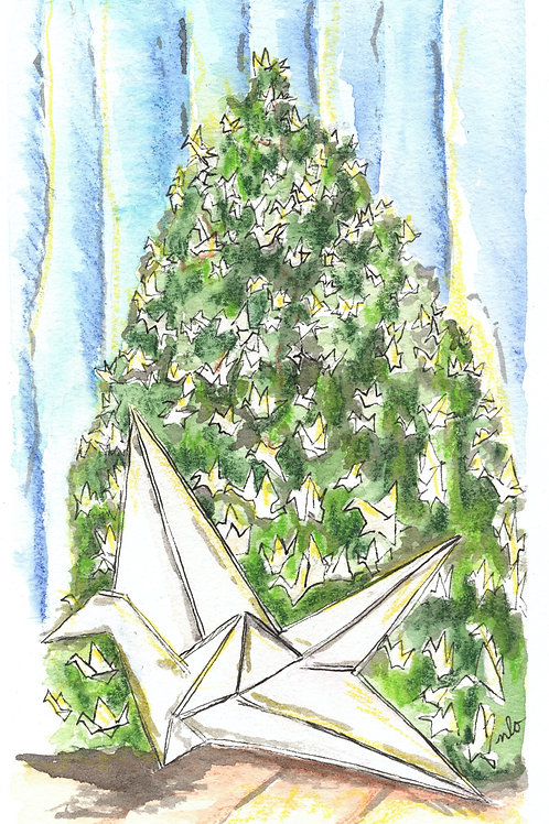 crane tree greeting card