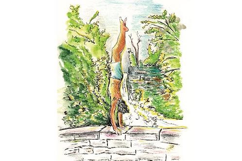 handstand postcard