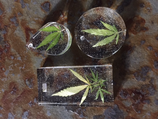 Authentic Cannabis Leaf in Resin