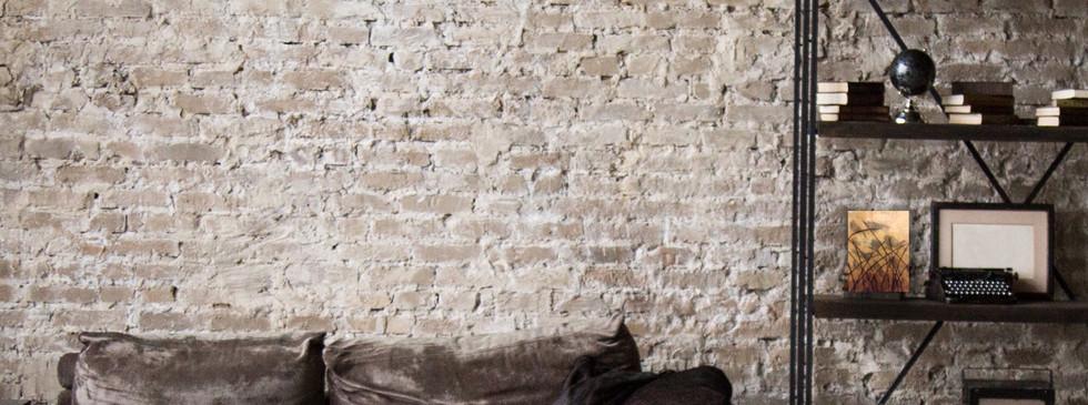 Brown Brick Wall Livingroom