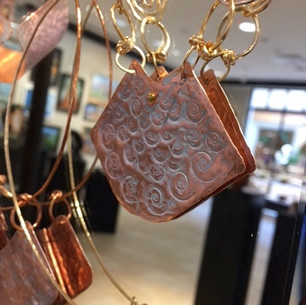 Hammered Star Riveted Marine PATINA on Copper Pendant