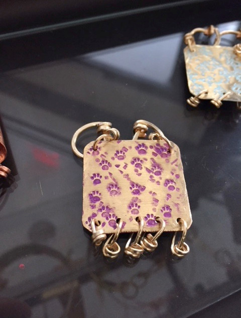 Amethyst Patina on PAWs Stamped Brass Pendant