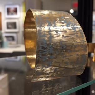 Hammered Patina Marine BRASS TAPERED Cuff Bracelet