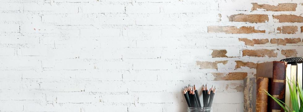 White Brick Desk Top Wall