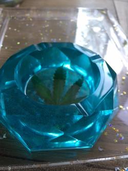 Turquoise Ashtray Beveled
