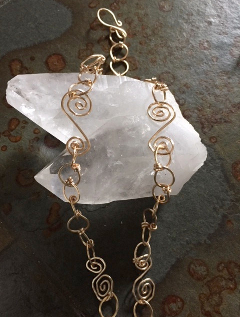 HAMMERED Wire CHAIN Loopy Links & Swirl Links