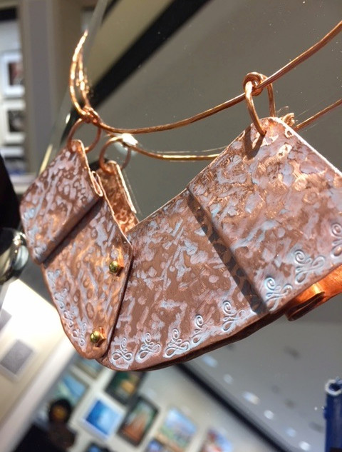 Hammered FOLD FORMED Star Riveted Marine PATINA on Copper Pendant