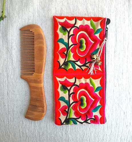 Wooden Comb with Hmong Tribal Pouch * Long *