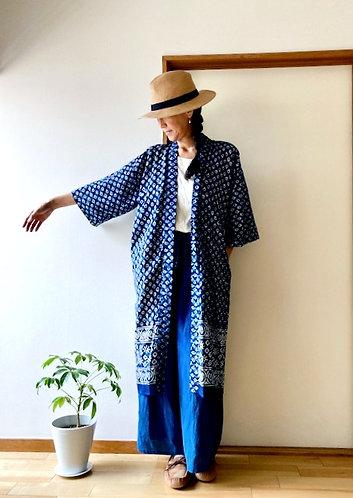 Indigo Batik Print Long Kimono