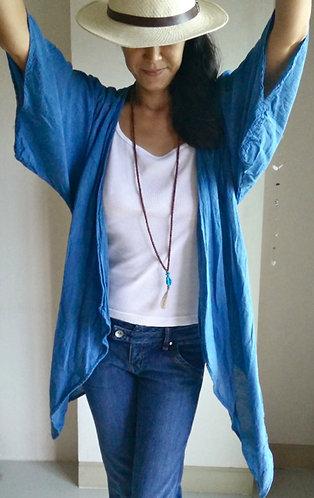 Light Indigo Cotton Kimono Cardigan