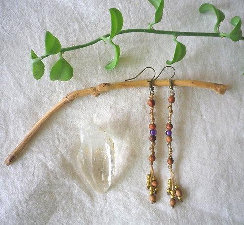 Earrings Spiral Amethyst