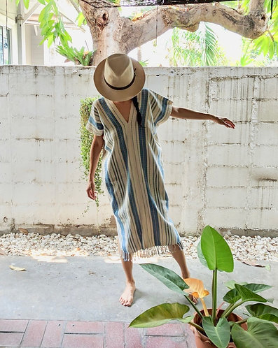 Handwoven Poncho Capri Stripe