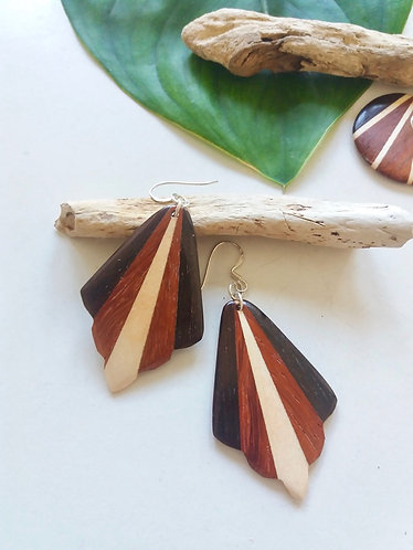 Wooden Mosaic Tribal Earrings * Feather *