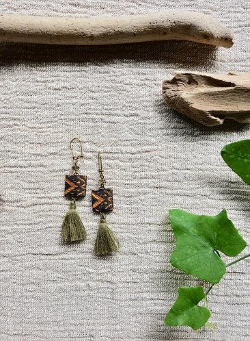 Vintage Lao Silk Textile Fringe Earrings in Matcha