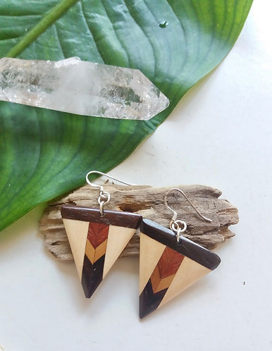 Wooden Mosaic Tribal Earrings * Pyramid *