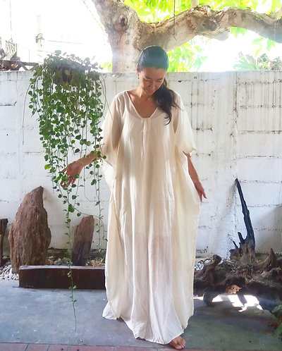 Beach Kaftan Long Dress Cream