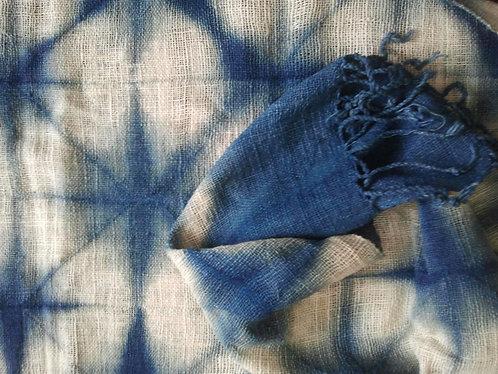 Handwoven Cotton Indigo Shibori Scarf