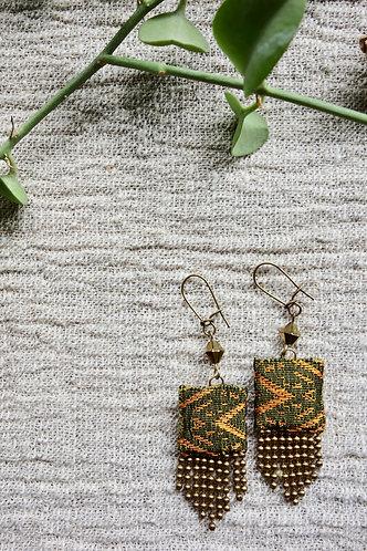 Vintage Lao Silk Textile Fringe Earrings