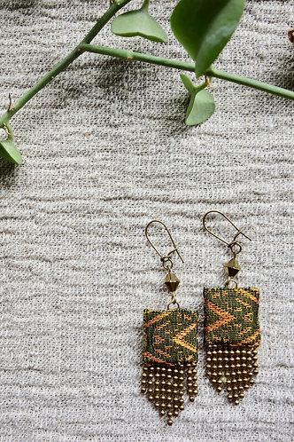 Vintage Lao Silk Textile Fringe Earrings