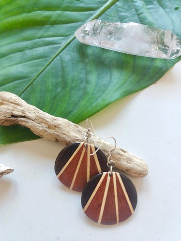 Wooden Mosaic Tribal Earrings * Harmony *