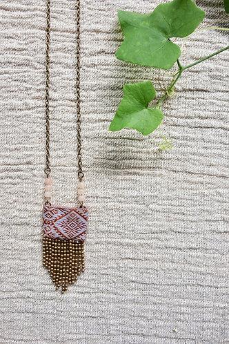 Vintage Lao Silk Textile Necklace with Rose Quarz