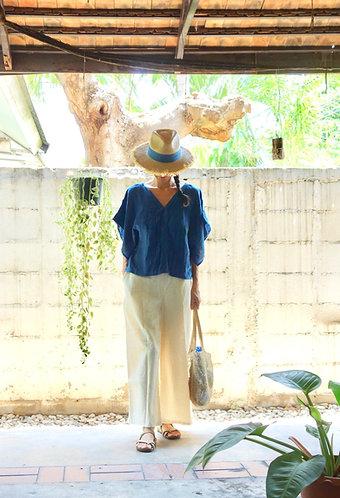Gauze Cotton Kimono Blouse in Indigo