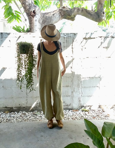 Organic Cotton Sora Jumpsuit in Olive/ Limited Editon