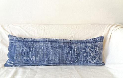 Vintage Indigo Batik Decorative Long Pillow Cover