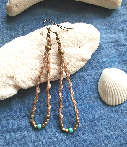 Earrings Wave Spiral Turquoise