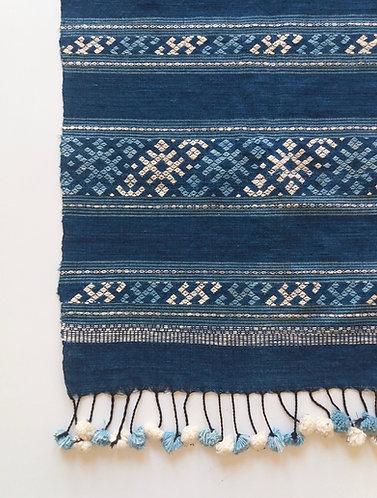 Handwoven Lao Indigo Textile with Pom Pom