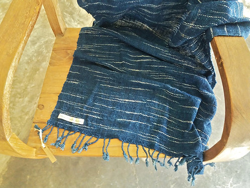 Handwoven Cotton Shawl * Deep Indigo Rain*