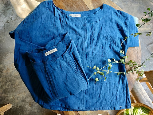 Cotton Camino Blouse in Indigo