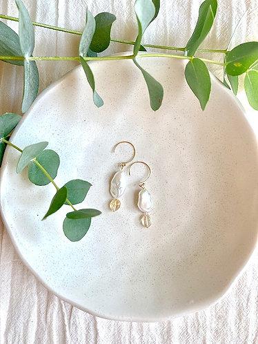 Barocco Pearl & Citrin Drop Earrings