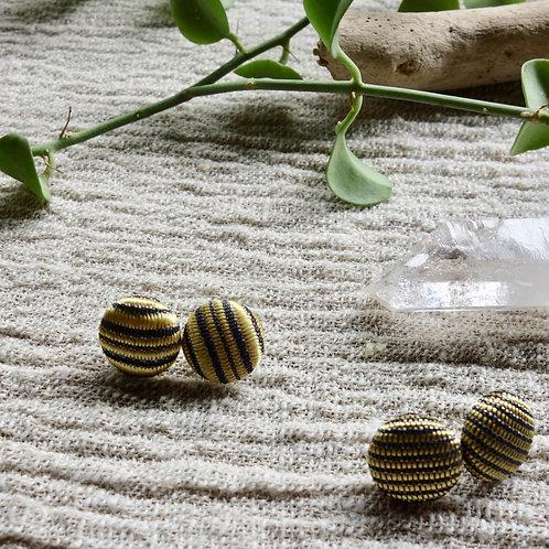 Vintage Lao Silk Textile Button Earrings