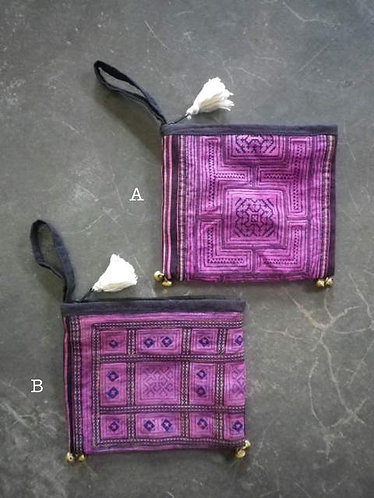 Vintage Hmong Textile Square Pouch