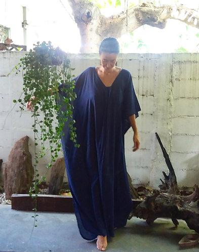 Beach Kaftan Long Dress Navy Blue