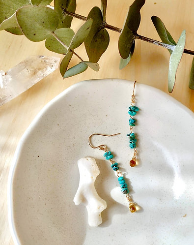 Turquoise & Citrine Drop Earrings