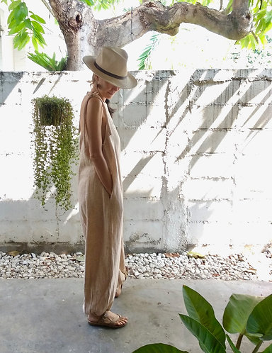 Organic Cotton Linen Sora Jumpsuit in Peach / Limited Edition