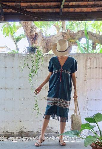Karen Handwoven Textile Poncho * Orchid *