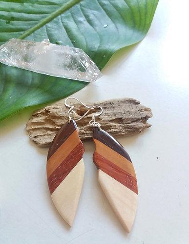 Wooden Mosaic Tribal Earrings * Leaf *