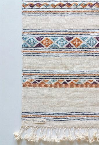 Handwoven Lao Textile Cream with Pom Pom