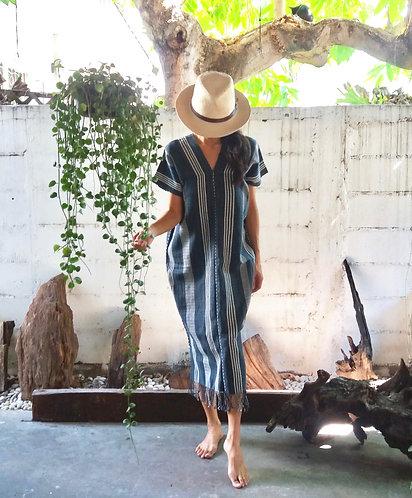 Handwoven Long Poncho Navy Blue Stripe