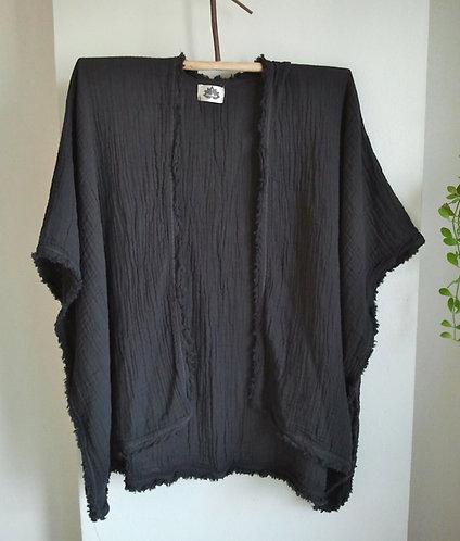 Soft Black Double Gauze Cotton Kimono