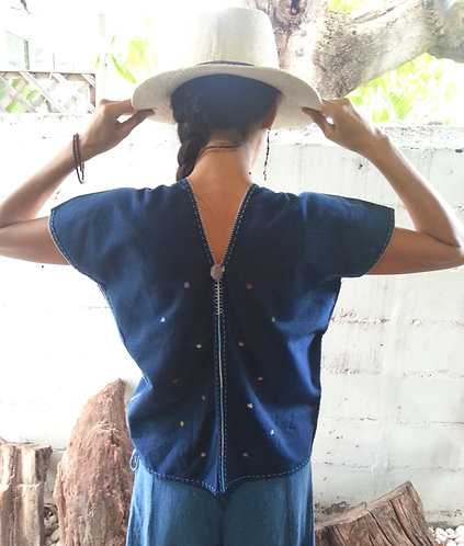 Indigo Cotton Hand stitched Blouse